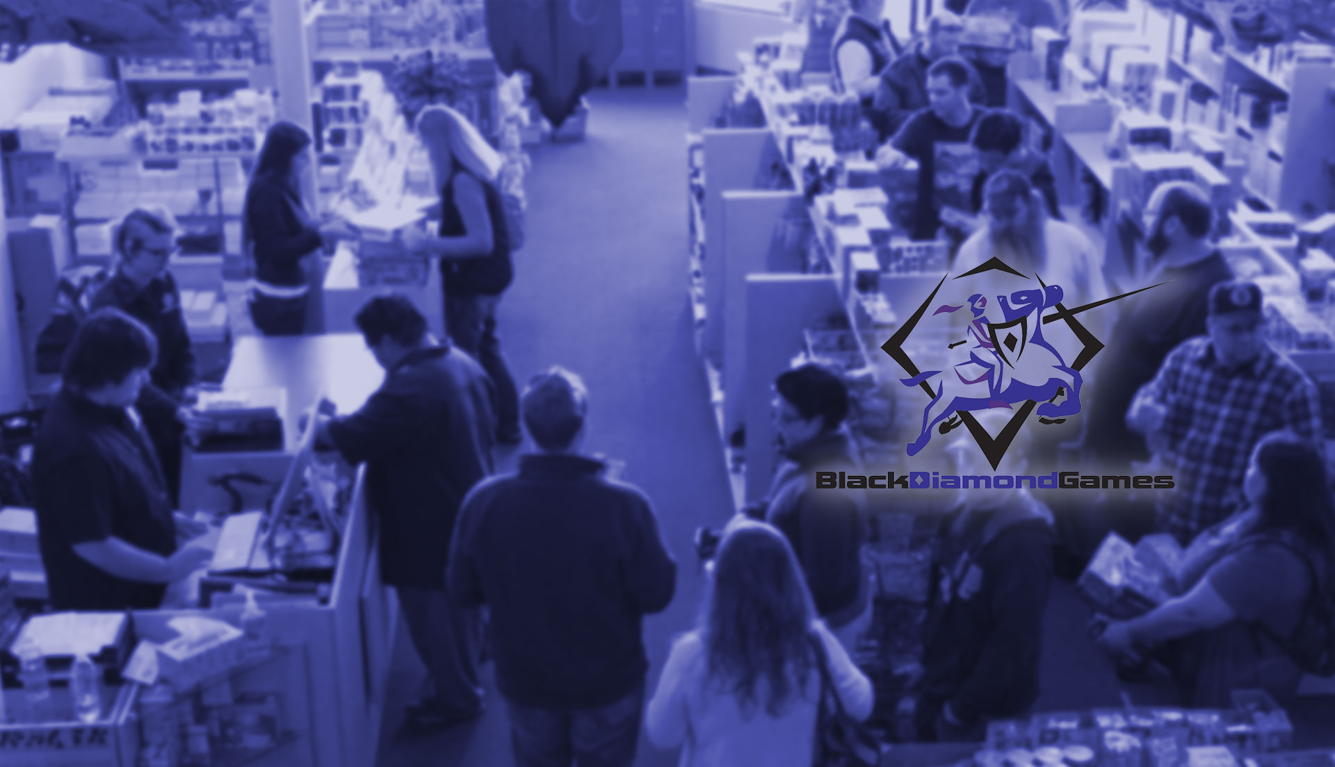 "Header image, a crowded gaming store with the ""Black Diamond Games"" logo overlaid"